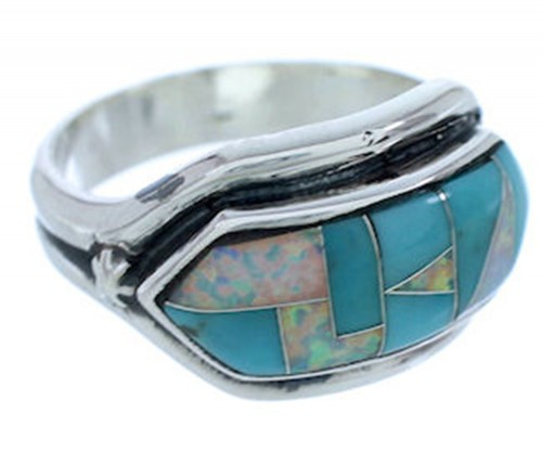 Southwest Silver Turquoise And Opal Ring Size 5-3/4 BW72284