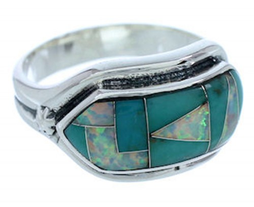 Sterling Silver Turquoise And Opal Inlay Ring Size 7-3/4 BW72317