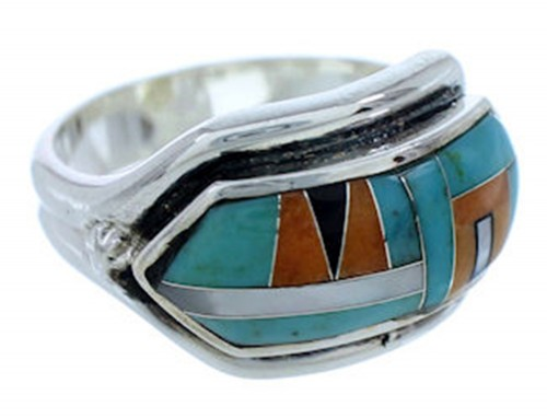 Turquoise Multicolor Inlay Jewelry Ring Size 8-1/2 BW72321