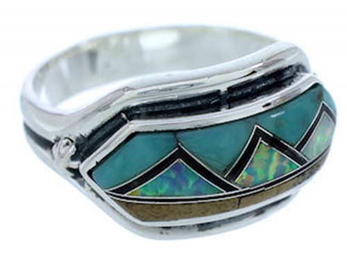 Turquoise Multicolor Inlay Silver Ring Size 6-3/4 BW72387