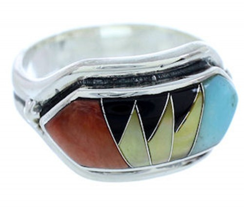 Southwest Sterling Silver Multicolor Inlay Ring Size 5-3/4 YS72353