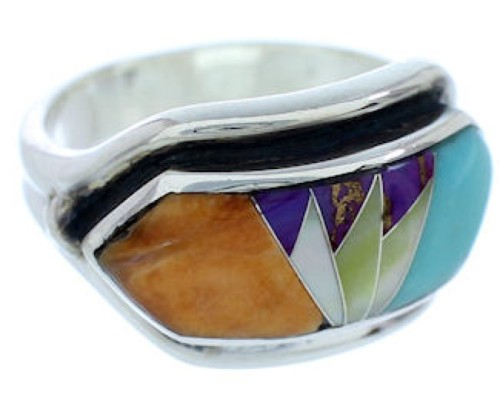 Southwest Silver Multicolor Jewelry Ring Size 8-1/2 YS72358