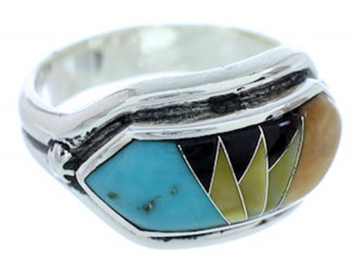 Southwest Multicolor Jewelry Silver Ring Size 7-1/2 YS72367