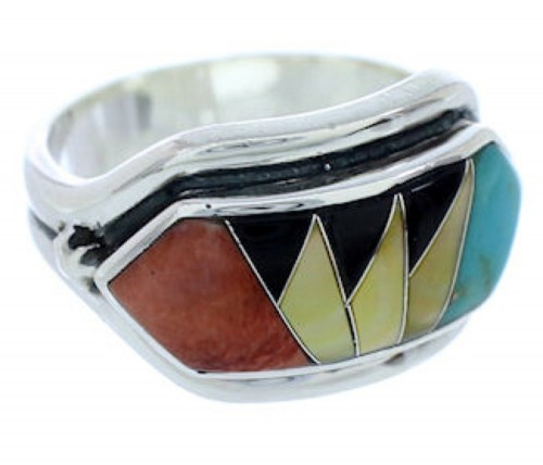 Multicolor Inlay Southwest Jewelry Silver Ring Size 6-3/4 YS72390