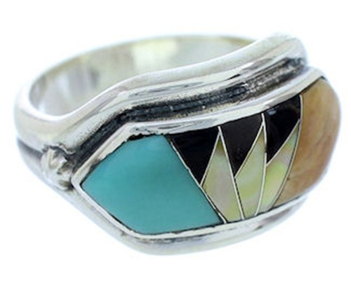 Southwest Jewelry Multicolor Sterling Silver Ring Size 8-1/4 YS72399