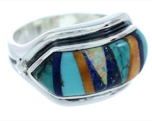 Multicolor Inlay Silver Southwest Jewelry Ring Size 7-1/2 YS72435