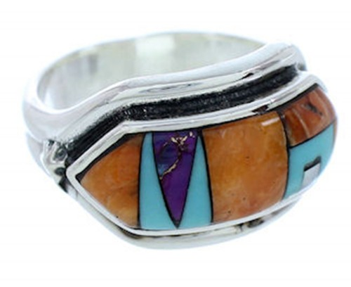 Multicolor Inlay Jewelry Southwest Silver Ring Size 8-1/2 YS72529