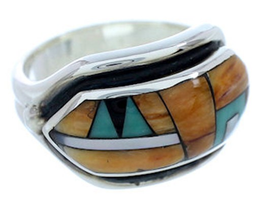Silver And Multicolor Inlay Ring Size 5-1/2 YS72547