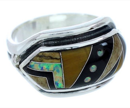 Silver Southwest Jewelry Multicolor Ring Size 7-1/2 YS72570