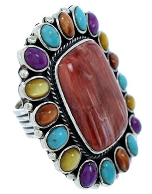 MulticolorJewelry Silver Large Statement Piece Ring Size 8 BW72740