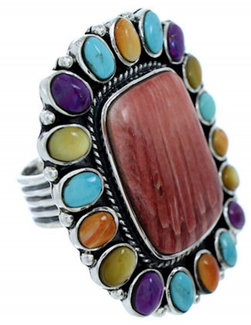 Multicolor Silver Large Statement Jewelry Ring Size 9-1/2 BW72560