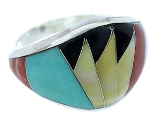Sterling Silver Turquoise Multicolor Jewelry Ring Size 7-3/4 AW73280