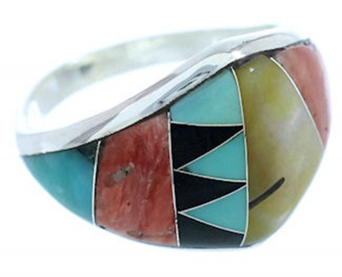 Southwest Multicolor Inlay Sterling Silver Ring Size 6-3/4 AW73310