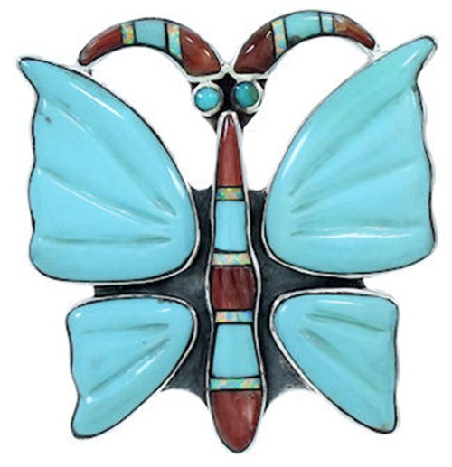 Butterfly Multicolor Southwest Large Statement Ring Size 8-3/4 YS72704