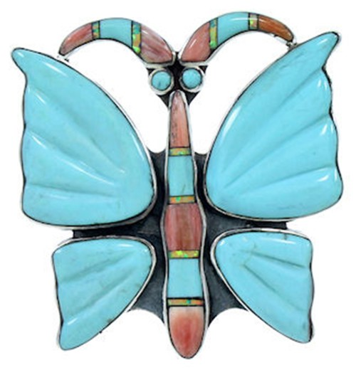 Southwest Multicolor Butterfly Large Statement Ring Size 5-1/2 YS72710