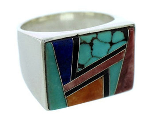 Southwest Sterling Silver Multicolor Jewelry Ring Size 11-1/2 DW72724