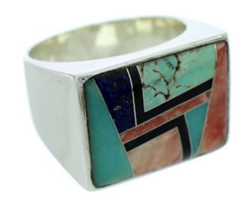 Sterling Silver Multicolor Inlay Southwestern Ring Size 11-1/2 DW72749