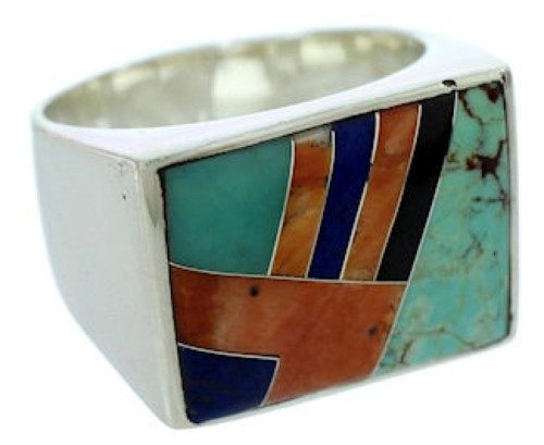 Southwestern Silver Multicolor Jewelry Ring Size 9-3/4 DW72791