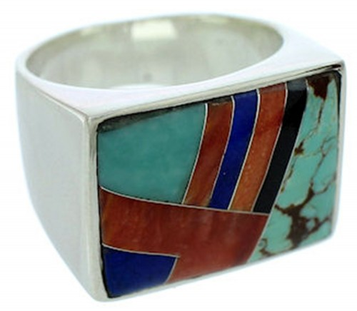 Southwest Jewelry Sterling Silver Multicolor Ring Size 9-1/2 DW72793