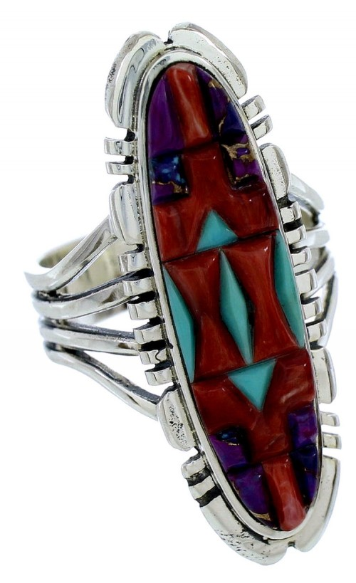 Turquoise Multicolor Inlay Southwest Silver Ring Size 7-1/2 BW72730