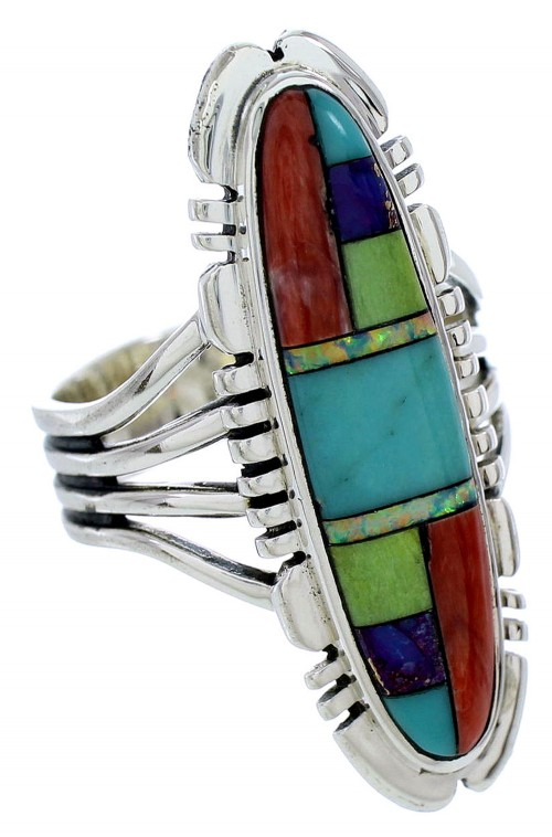 Multicolor Inlay Jewelry Sterling Silver Ring Size 9-1/4 BW72772