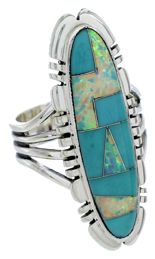 Southwest Turquoise And Opal Inlay Silver Ring Size 7-1/4 BW72837