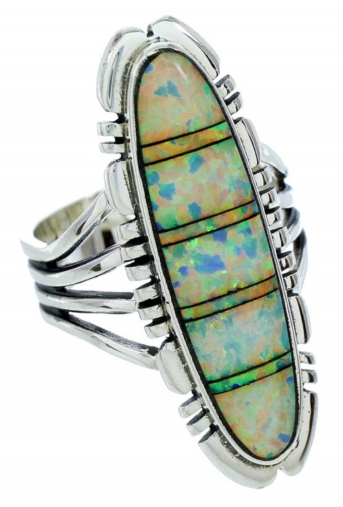 Genuine Sterling Silver And Opal Inlay Jewelry Ring Size 9-1/2 BW72849