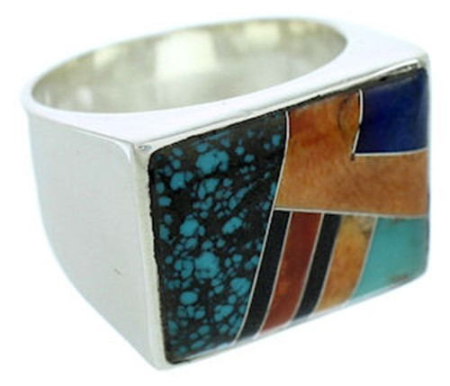Southwest Multicolor Inlay Sterling Silver Ring Size 11-1/2 YS72759