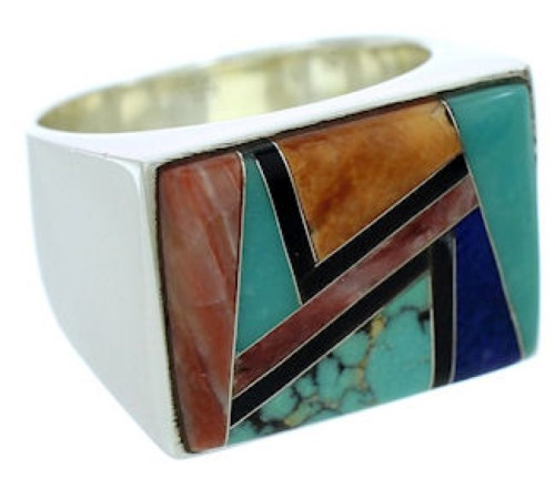 Southwest Silver Multicolor Inlay Jewelry Ring Size 11-1/2 YS72775