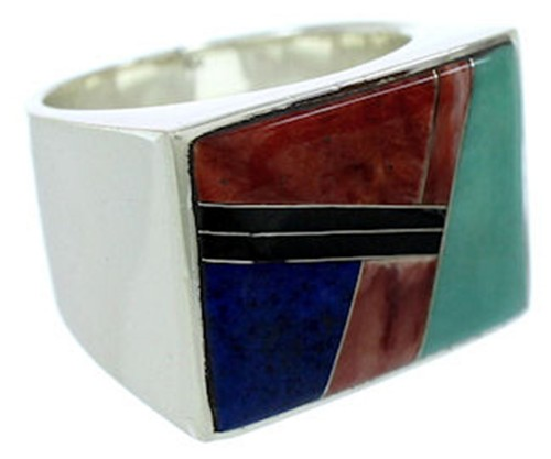 Southwest Silver Multicolor Inlay Ring Size 9-1/2 YS72779