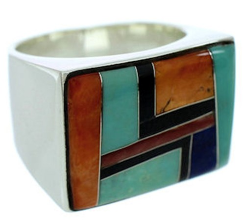 Sterling Silver Southwest Multicolor Jewelry Ring Size 9-1/2 YS72873