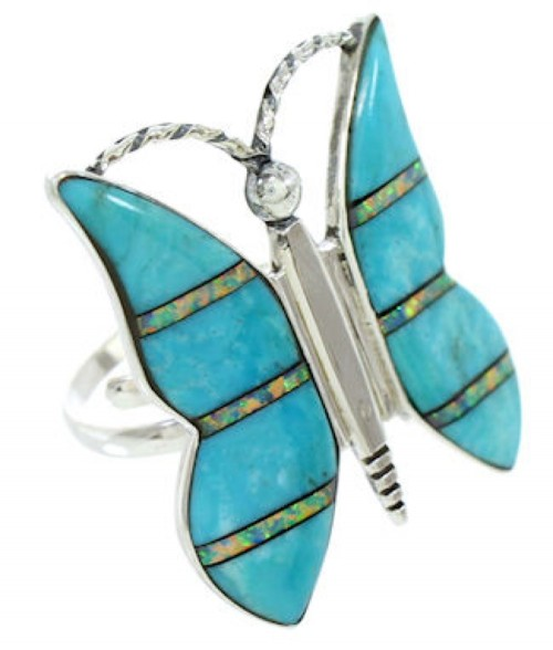 Southwest Turquoise Opal Butterfly Adjustable Ring Size 7 8 9 DW72642