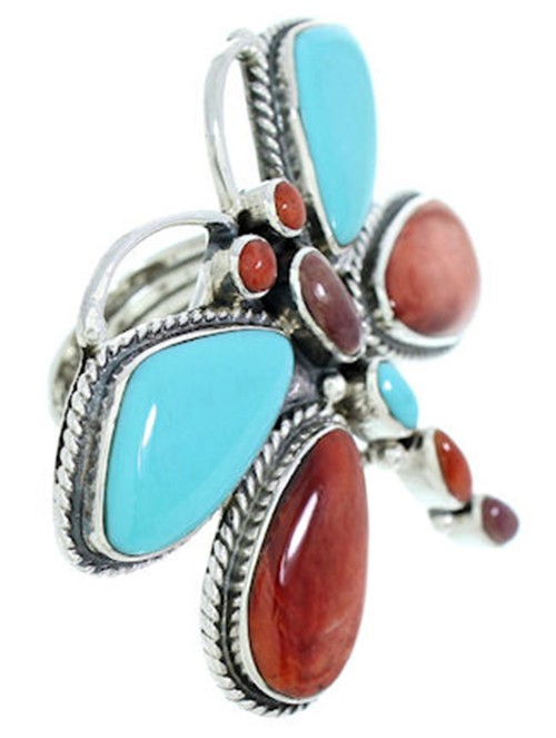 Large Statement Multicolor Dragonfly Southwest Ring Size 9-1/2 PS72577
