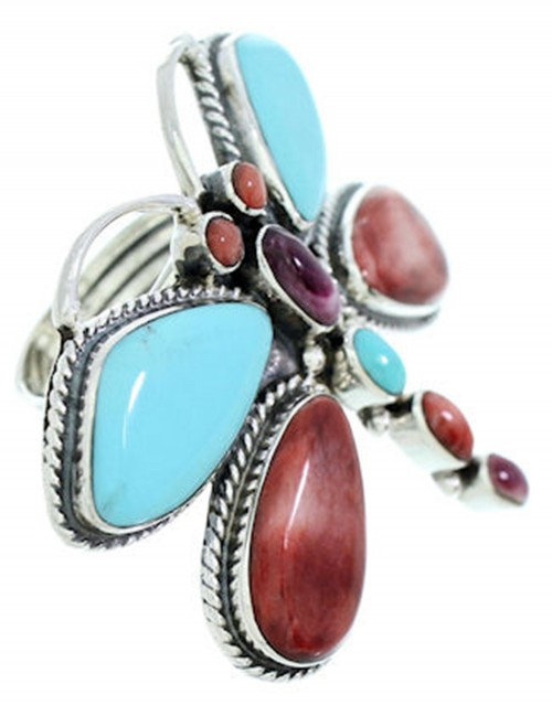 Dragonfly Multicolor Large Statement Southwest Ring Size 7-3/4 PS72585