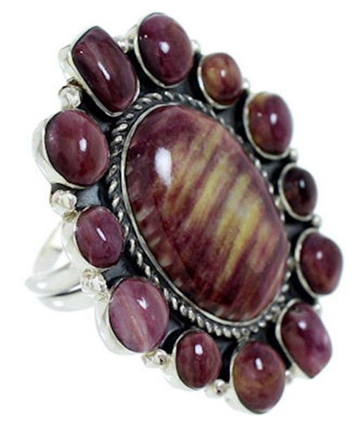 Purple Oyster Shell Large Statement Silver Ring Size 7-1/4 BW72898