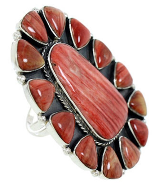 Red Oyster Shell Large Statement Silver Ring Size 8-1/2 BW72927