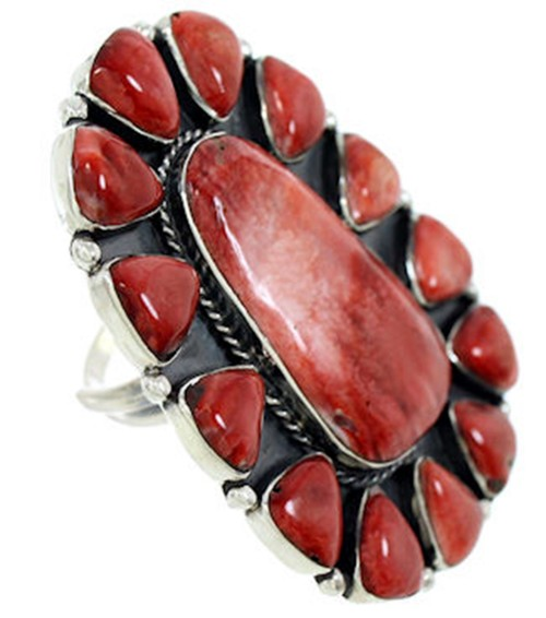 Silver Red Oyster Shell Large Statement Ring Size 6-1/4 BW72931