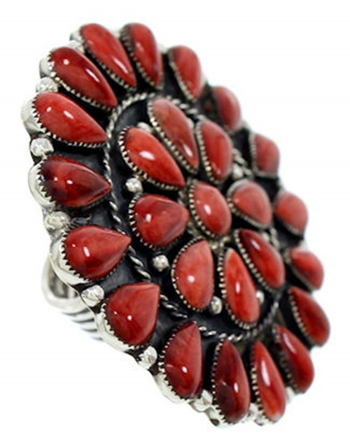 Red Oyster Shell Large Statement Southwestern Ring Size 7-3/4 BW72969