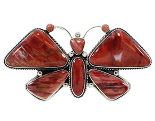 Large Statement Red Oyster Shell Butterfly Ring Size 8-3/4 PS72887