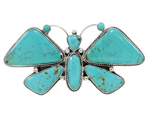 Southwest Large Statement Turquoise Butterfly Ring Size 6-3/4 PS72916