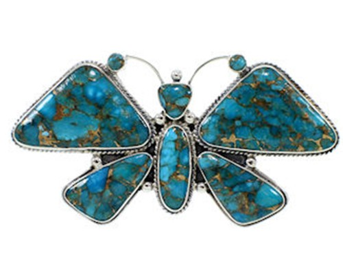 Southwest Large Statement Butterfly Turquoise Ring Size 8 PS72977
