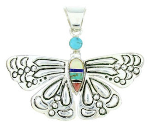 Southwest Multicolor Sterling Silver Butterfly Pendant Jewelry DW72891