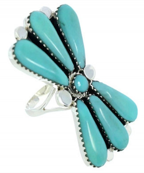Silver Large Statement Piece Turquoise Jewelry Ring Size 8-1/2 BW74453