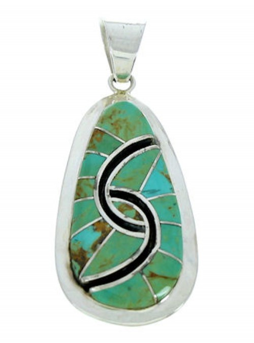 Turquoise Inlay Sterling Silver Southwestern Pendant AX23451