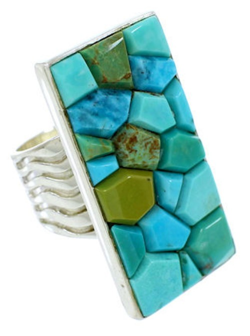 Turquoise Southwest Sterling Silver Jewelry Ring Size 6-1/2 MW73965