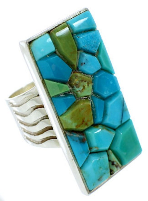 Southwest Turquoise Inlay Silver Ring Size 5-3/4 MW73971