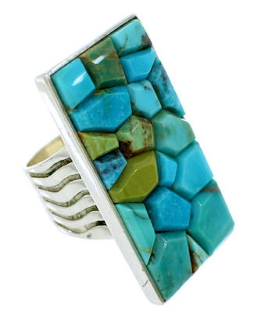 Southwestern Silver Jewelry Turquoise Inlay Ring Size 5-1/2 MW73986