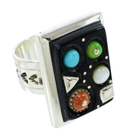 Multicolor Inlay Southwest Sterling Silver Ring Size 6-1/2 MW73997