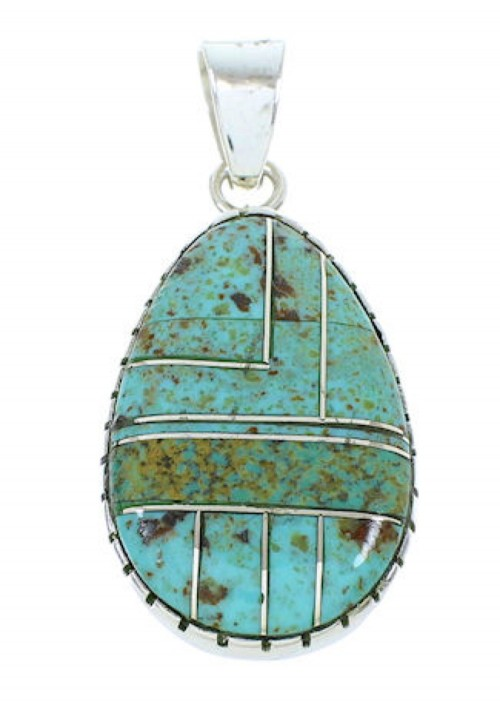 Southwest Sterling Silver Turquoise Inlay Pendant BW74348