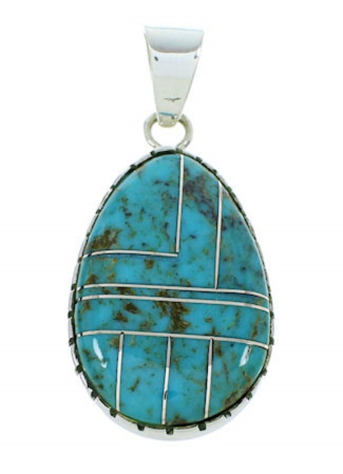 Turquoise Inlay Southwest Sterling Silver Pendant BW74349
